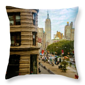 Throw Pillow featuring the photograph Empire State Building - Crackled View by Madeline Ellis