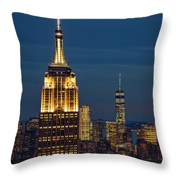 Empire State Building Esb World Trade Center Wtc Nyc Throw Pillow