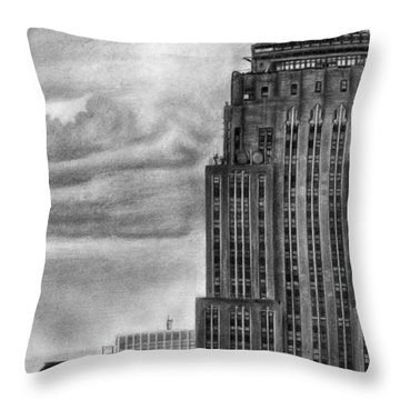 Empire State Building New York Pencil Drawing Throw Pillow
