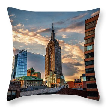 Empire State Building Sunset Rooftop Throw Pillow