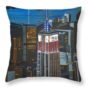Empire State Throw Pillow by Donna Blossom