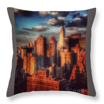 Empire State In Gold Throw Pillow by Miriam Danar