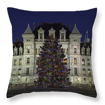 Empire State Plaza Holiday Throw Pillow