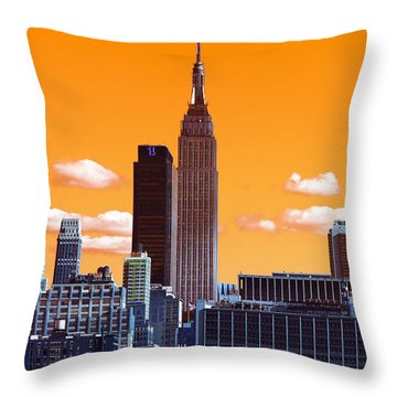 Throw Pillow featuring the photograph Empire State Pop Art by John Rizzuto