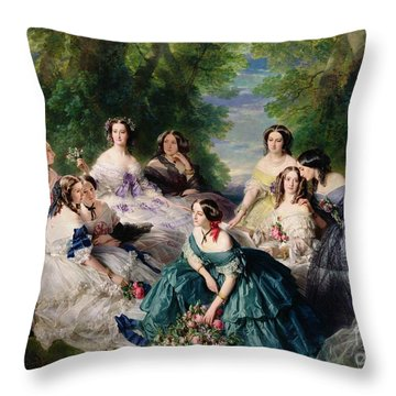 Empress Eugenie Surrounded By Her Ladies In Waiting Throw Pillow