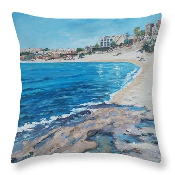Throw Pillow featuring the painting Empty Beach by Ray Khalife