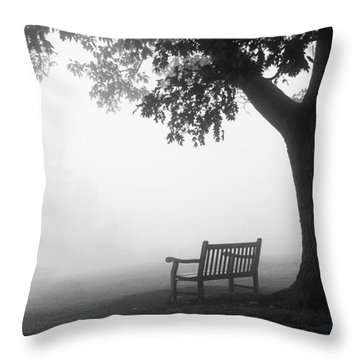 Empty Bench Throw Pillow by Monte Stevens