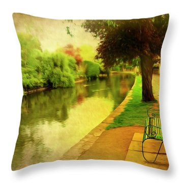 Empty Bench Throw Pillow by Svetlana Sewell