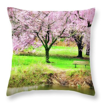 Throw Pillow featuring the photograph Empty Bench Surrounded By Spring Colors by Gary Slawsky