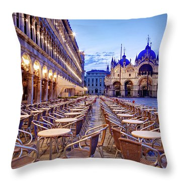 Empty Cafe On Piazza San Marco - Venice Throw Pillow