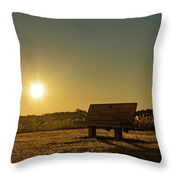 Throw Pillow featuring the photograph Empty Cavendish Beach Bench by Chris Bordeleau