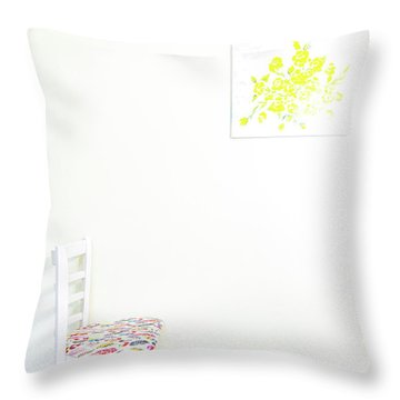 Empty Chair With Yellow Roses Throw Pillow