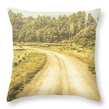 Empty Curved Gravel Road In Tasmania, Australia Throw Pillow