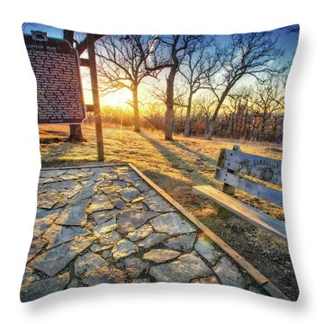 Empty Park Bench - Sunset At Lapham Peak Throw Pillow by Jennifer Rondinelli Reilly - Fine Art Photography