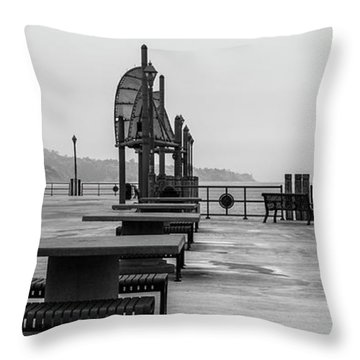 Throw Pillow featuring the photograph Empty Pier by Michael Hope