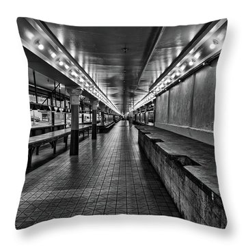 Empty Pike Place Market In Seattle Throw Pillow