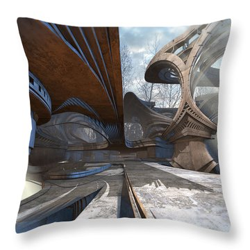 Empty Plaza Throw Pillow by Hal Tenny