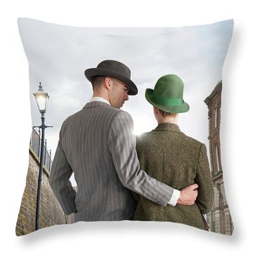 Empty Street With Victorian Buildings Throw Pillow
