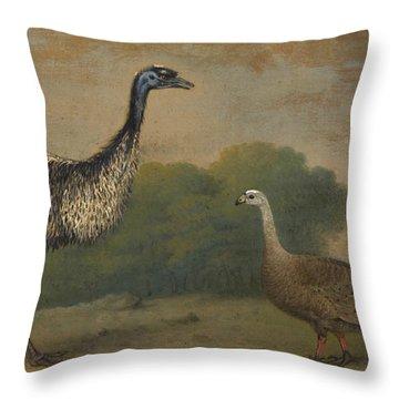 Emu, Cape Barren Goose And Magpie Goose Throw Pillow