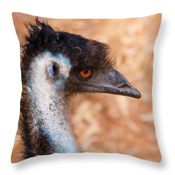 Emu Profile Throw Pillow by Mike  Dawson