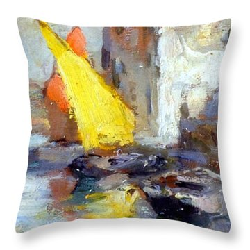 Throw Pillow featuring the painting En Plein Air In Venice by Rosario Piazza