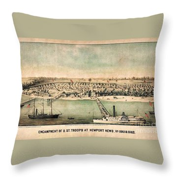 Encampment Of Us Troops At Newport News Throw Pillow