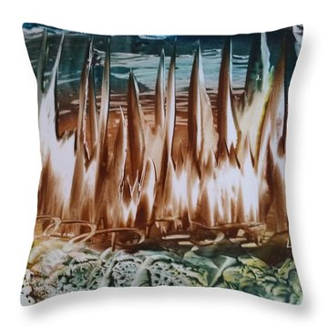 Encaustic Abstract Brown Blue-green Throw Pillow
