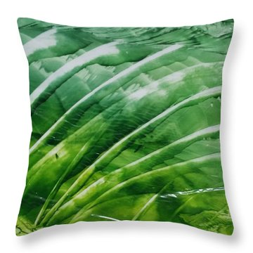 Encaustic Abstract Green Fan Foliage Throw Pillow