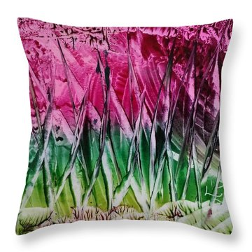 Encaustic Abstract Pinks Greens Throw Pillow
