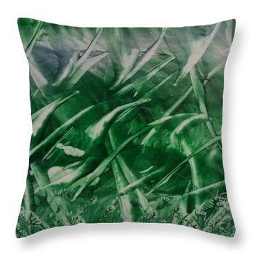 Encaustic Green Foliage With Some Blue Throw Pillow