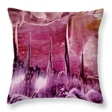 Encaustic Purple-pink Abstract Castles Throw Pillow