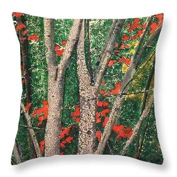 Enchanted Birches Throw Pillow