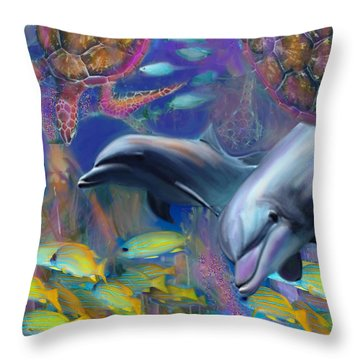 Enchanted Dolphins Throw Pillow by Julianne Ososke