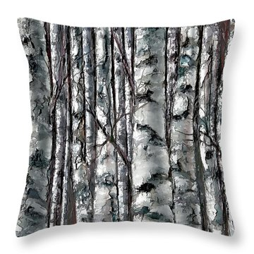Enchanted Forest -black And White Throw Pillow