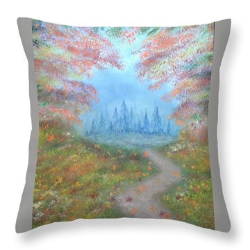 Throw Pillow featuring the painting Enchanted Forest by The GYPSY And DEBBIE