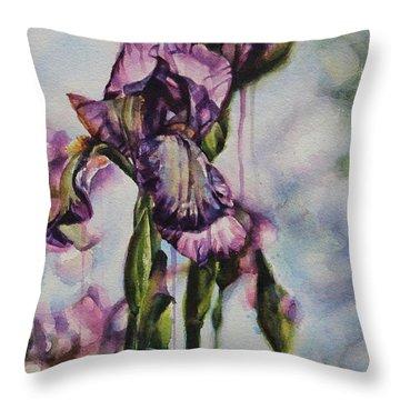 Enchanted Iris Garden Throw Pillow