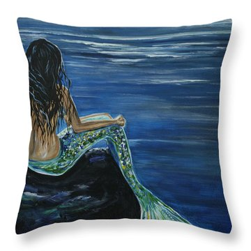 Enchanted Mermaid Throw Pillow by Leslie Allen