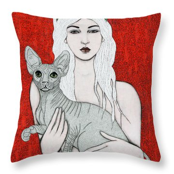 Throw Pillow featuring the mixed media Enchanted by Natalie Briney