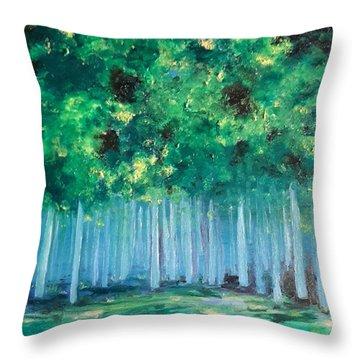 Enchanted Poplars Throw Pillow