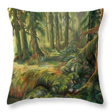 Enchanted Rain Forest Throw Pillow by Sherry Shipley