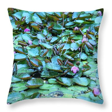 Throw Pillow featuring the photograph Painted Water Lilies by Theresa Tahara