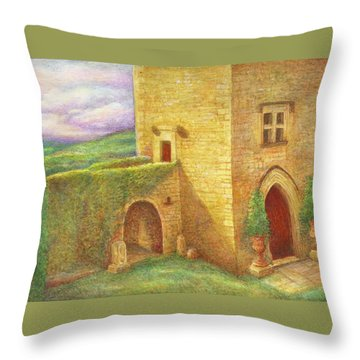 Enchanting Fairytale Chateau Landscape Throw Pillow