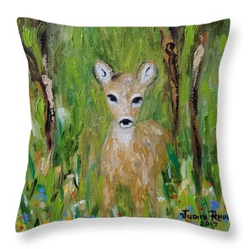 Throw Pillow featuring the painting Enchantment by Judith Rhue