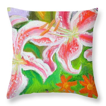 Enchantment Lilies Detail Throw Pillow