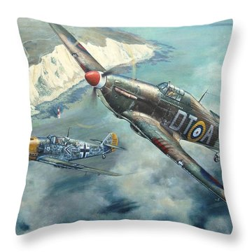 'encounter Over Beachy Head' Throw Pillow by Colin Parker