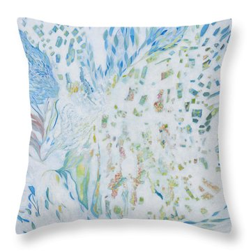 Throw Pillow featuring the painting Encounter With Angels by Linda Cull