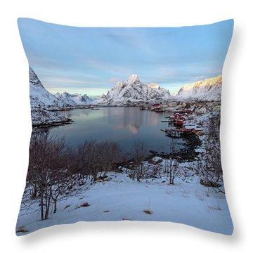 Throw Pillow featuring the photograph End Of Day, Reine, Lofoten,  by Dubi Roman