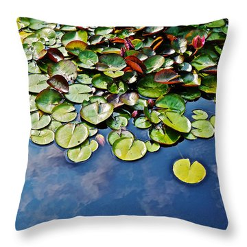 End Of July Water Lilies In The Clouds Throw Pillow