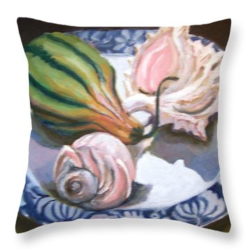 Throw Pillow featuring the painting End Of Summer by Laura Aceto