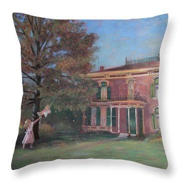 Throw Pillow featuring the painting End Of Summer by Nancy Lee Moran